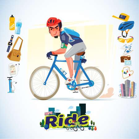 Equitazione della bicicletta con il design dei caratteri degli elementi. Archivio Fotografico - 85651527
