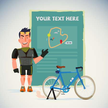 Mannelijke fietser met kaart.