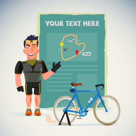 Male cyclist with map.