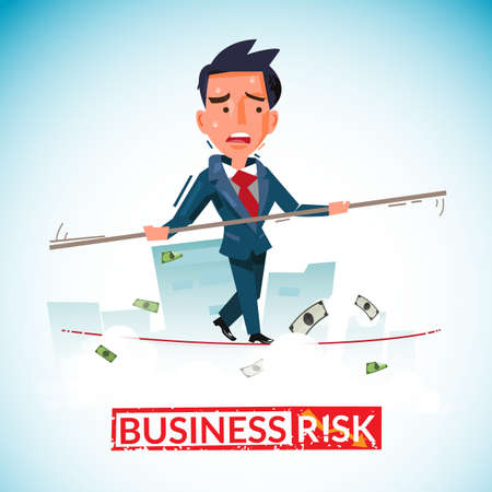 businessman balancing on rope, business risk concept with typographic for your header design - vector illustration Çizim