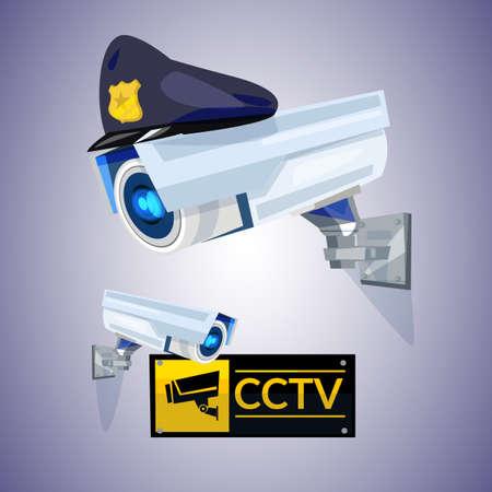 CCTV met politie een hoogtepunt bereikt GLB, veiligheid en technologieconcepten vectorillustratie