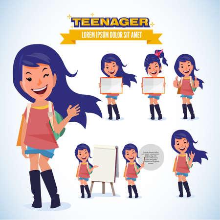 Leuke Tiener in verschilactie voor presentatie, de vectorillustratie van het karakterontwerp Stock Illustratie