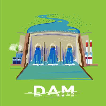 発電所とダム付属ヘッダー デザインのベクトル図の表記