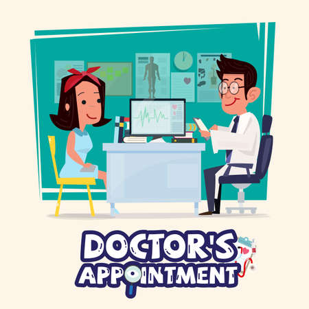 Doctor talking to female patient icon. Illustration