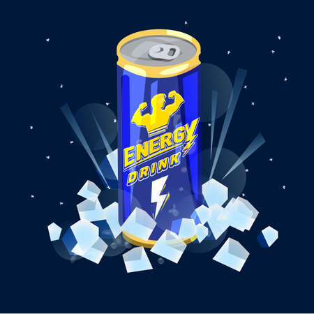Can of Energy Drink on ice icon. Vectores