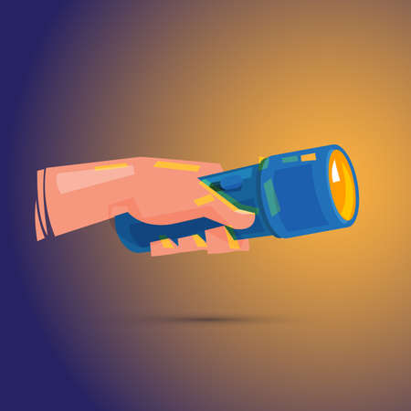 Hand holding flashlight in the dark vector illustration