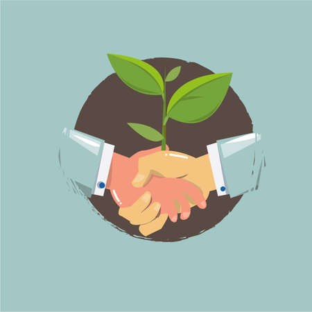 Handshake with young plant. eco concept - vector illustration