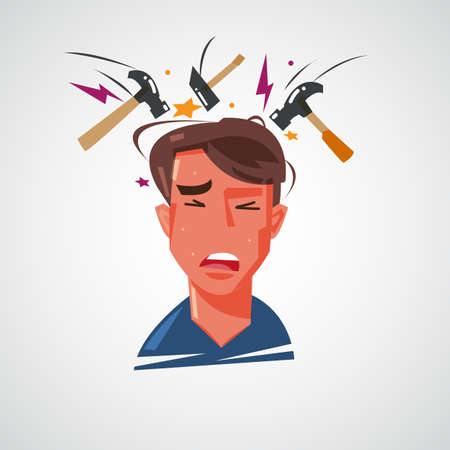 Headache and migraine concept vector illustration Illustration