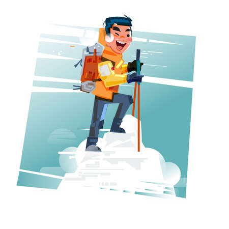 Hiker with backpack on top of snow mountain Stock Vector - 86146576
