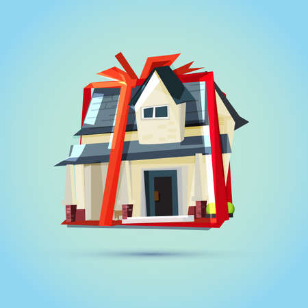 House as a gift for you.Real Estate, Property & Homes concept - vector illustration