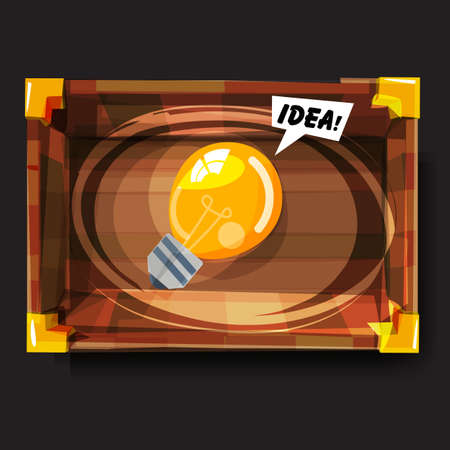 lightbulb of idea in emty box. discover your idea concept - vector illustration