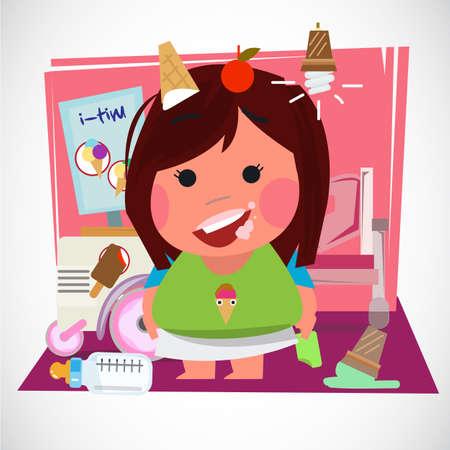 かわいい女の子が彼女の部屋でアイスクリームを食べます。キャラクターデザイン-ベクターイラスト  イラスト・ベクター素材