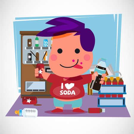 소다 수와 그의 방에 병 소년입니다. 소다로 장식해라. 자판기. 캐릭터 디자인. 소다 연인 개념 - 벡터 일러스트 레이 션 일러스트