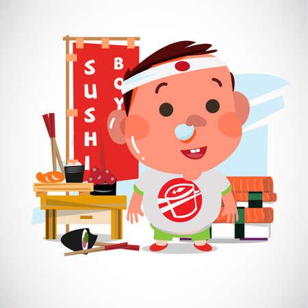 Adorable boy with sushi. Character design. Sushi lover concept - vector illustration Ilustração