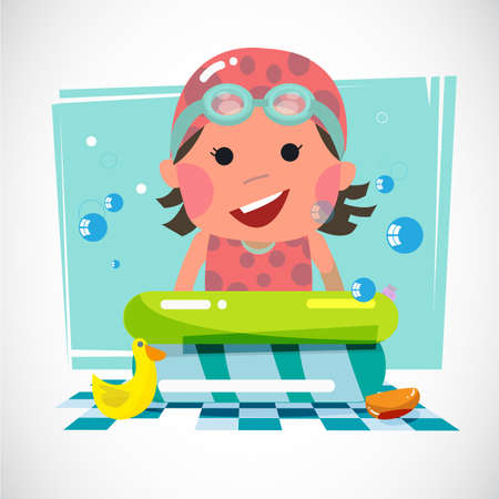 Kid with pool and toy ducks - vector illustration