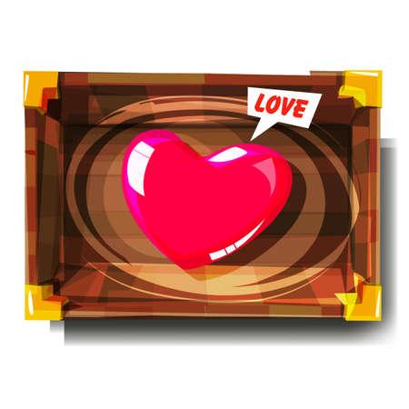 hart in houten kist. vond het liefdeconcept - vectorillustratie Stock Illustratie