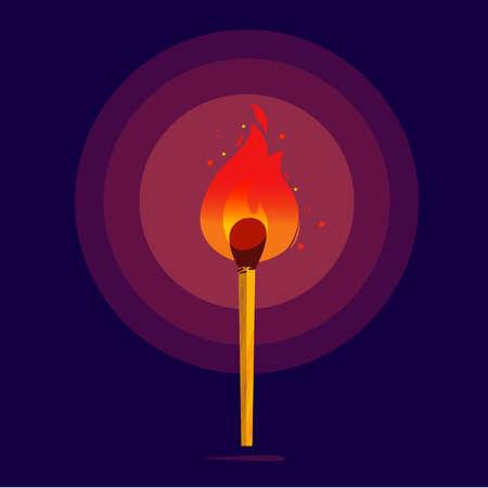 暗闇の中で光る火とのマッチ。燃えるマッチ-モチベーション、創造性、インスピレーション、成功、信念と信念の概念-ベクトルイラスト  イラスト・ベクター素材