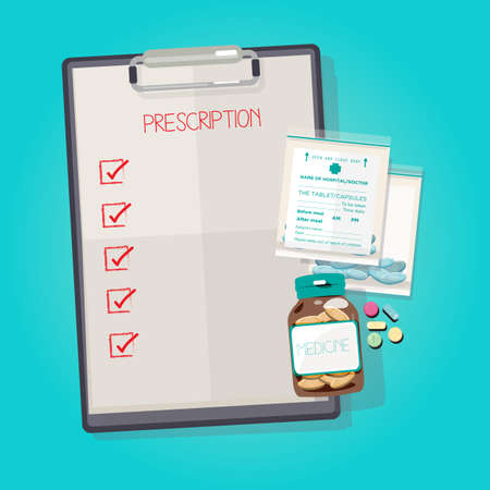 Clip Board with medicine bottle and drug pills in a plastic bag.check box to replace your text  - vector illustration