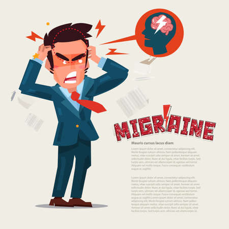 Man suffering Headache and migraine in pain. character design. migraine concept. typographic for header design - vector illustration Ilustração