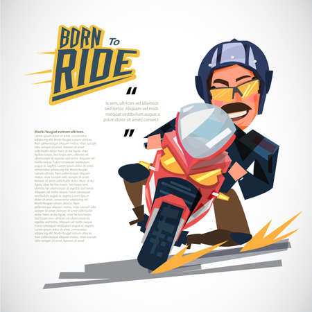 Man riding motorcycle in road curve. character design with typographic for header design - vector illustration