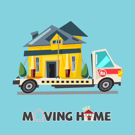Home on truck. moving home concept. relocating house. typographic design for header - vector illustration