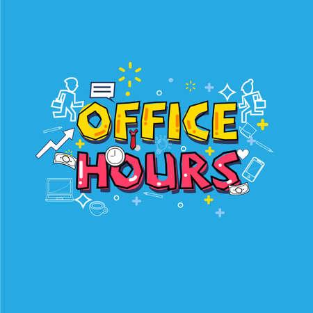 Kantooruren concept. drukke office icon set. typografisch ontwerp - vectorillustratie