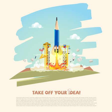 연필 로켓 창조적 인 공급과 임무에 이륙. 비즈니스 및 창의성 개념 - 벡터 일러스트 레이 션 시작