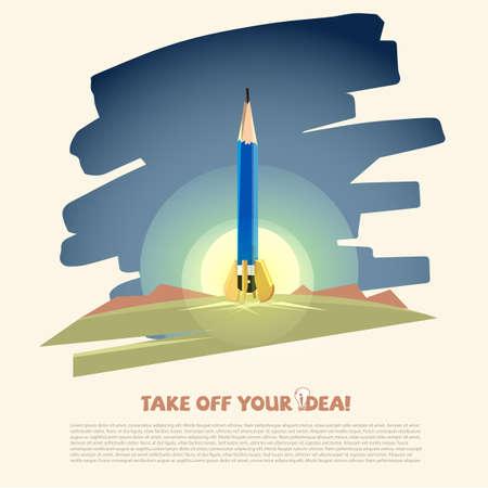 鉛筆ロケット。創造的なアイデアとデザインコンセプト - ベクトルイラストレーション