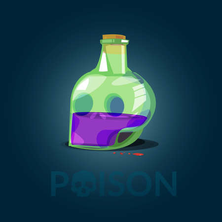 Glass Bottle of Poison in skull shape come with typographic for header design - vector illustration Иллюстрация