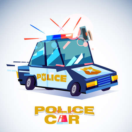 policecar with typographic design - vector illustration