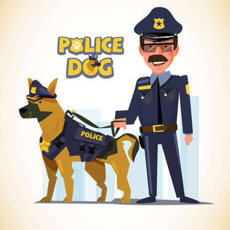 police officer standing with his partner. police dog. character design - vector illustration