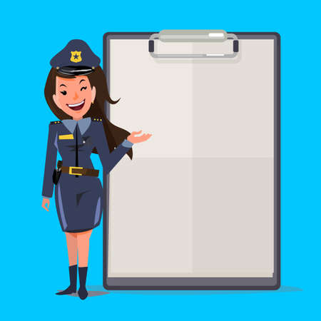 Smiling female police officer with report paper. presentation concept. character design - vector illustration