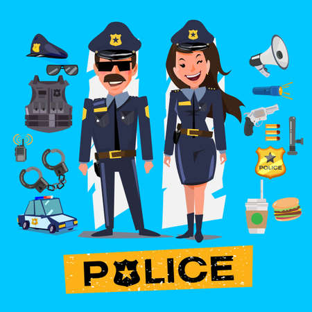 Police officers. Man and women with icon set. Character design - vector illustration Illustration