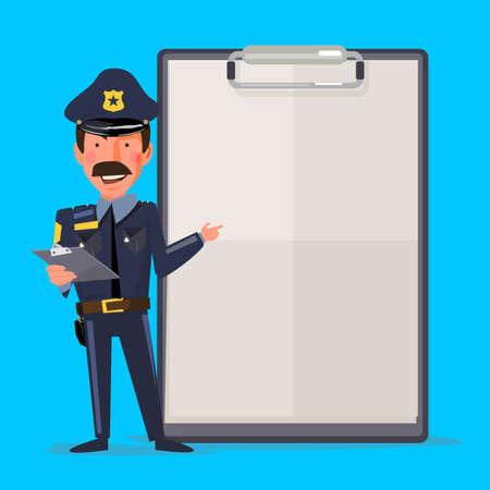 Sonriente oficial de policía de sexo masculino con el informe de papel. concepto de presentación. carácter de diseño - ilustración vectorial Ilustración de vector
