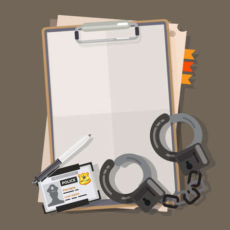 手錠と警察レポート用紙。警察バッジとペン - ベクトル図