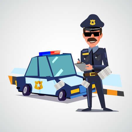 Officier de police qui écrit un billet avec une voiture de police. design de personnage - illustration vectorielle