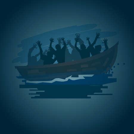 De vluchtelingenmensen op een boot op het stormachtige overzees in silhouetstijl, bewegen zich aan beter het levensconcept - vectorillustratie