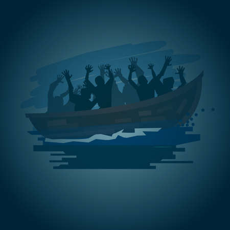 Réfugiés personnes sur un bateau sur la mer orageuse en style silhouette, passer à un meilleur concept de vie - illustration vectorielle