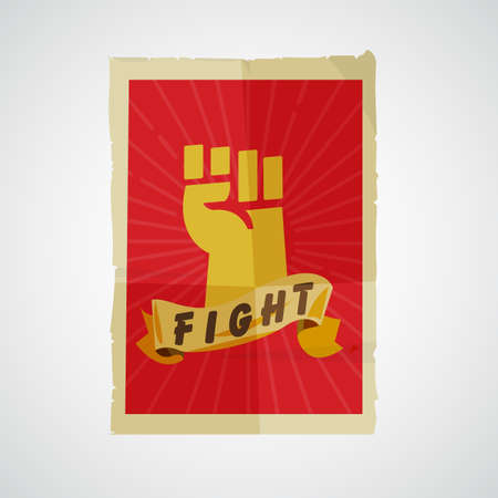 Fist raised up in poster paper. Protest and revolution concept - vector illustration Illusztráció