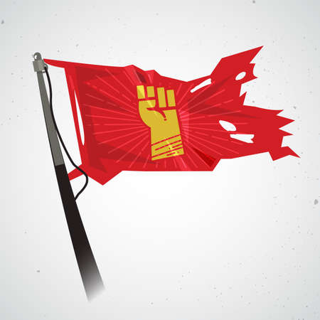 waving flag with fist hand of revolution. power and propaganda concept - vector illustration