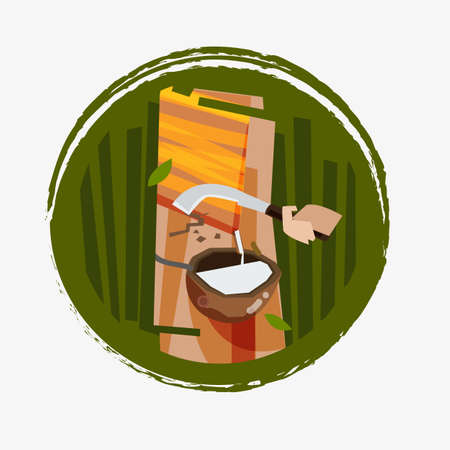 Rubber tapping - vector illustration