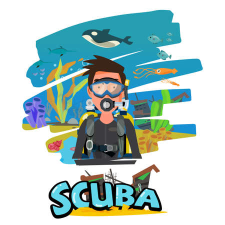 Scuba diving man with aquatic in the background. Typographic for your header design vector illustration Çizim