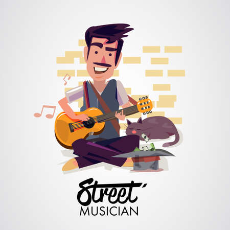 Street musician playing guitar.