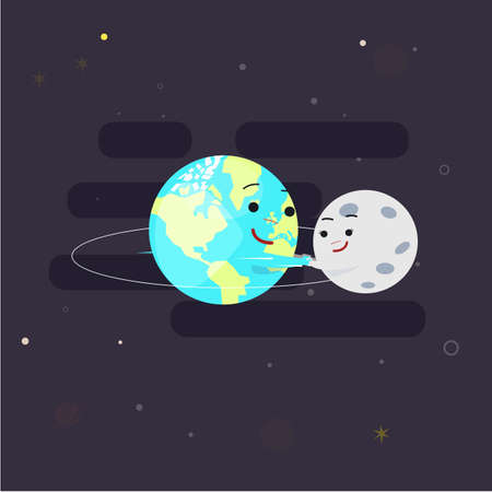 Earth holding hand with moon for play around orbit circle. Orbit study for kid.