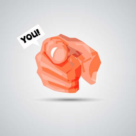 あなたにテキストをバブルで指している手。