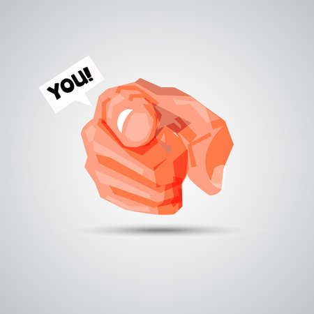 Hand pointing at you with  text bubble.