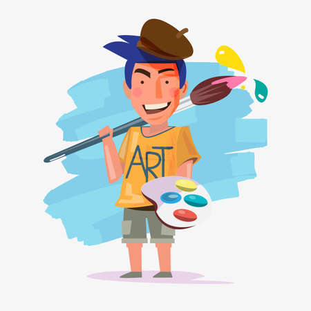 Artist man carrying big paintbrush like a weapon. character design of artist - vector illustration