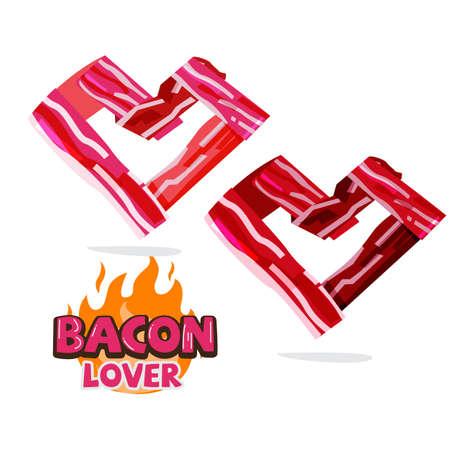 Bacon in heart shape. Bacon lover concept - vector illustration