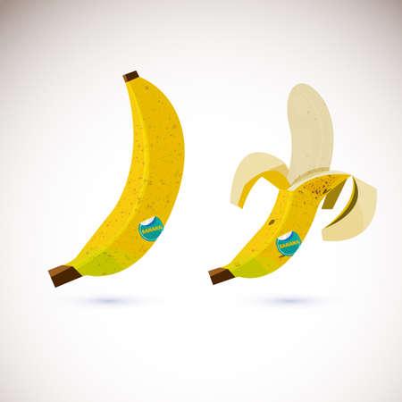 Plátano y plátano pelado - ilustración vectorial Foto de archivo - 86387335