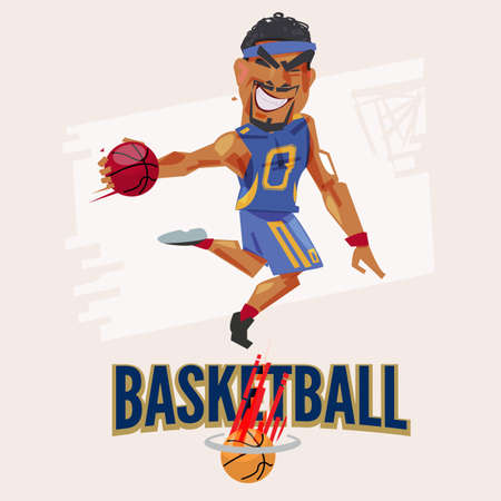 Basketball player jumping to dunking. character design with typographic for header design - vector illustration